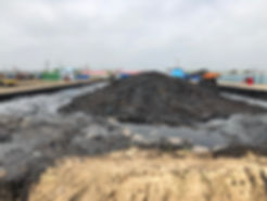 petroleum waste residue pit after incineration