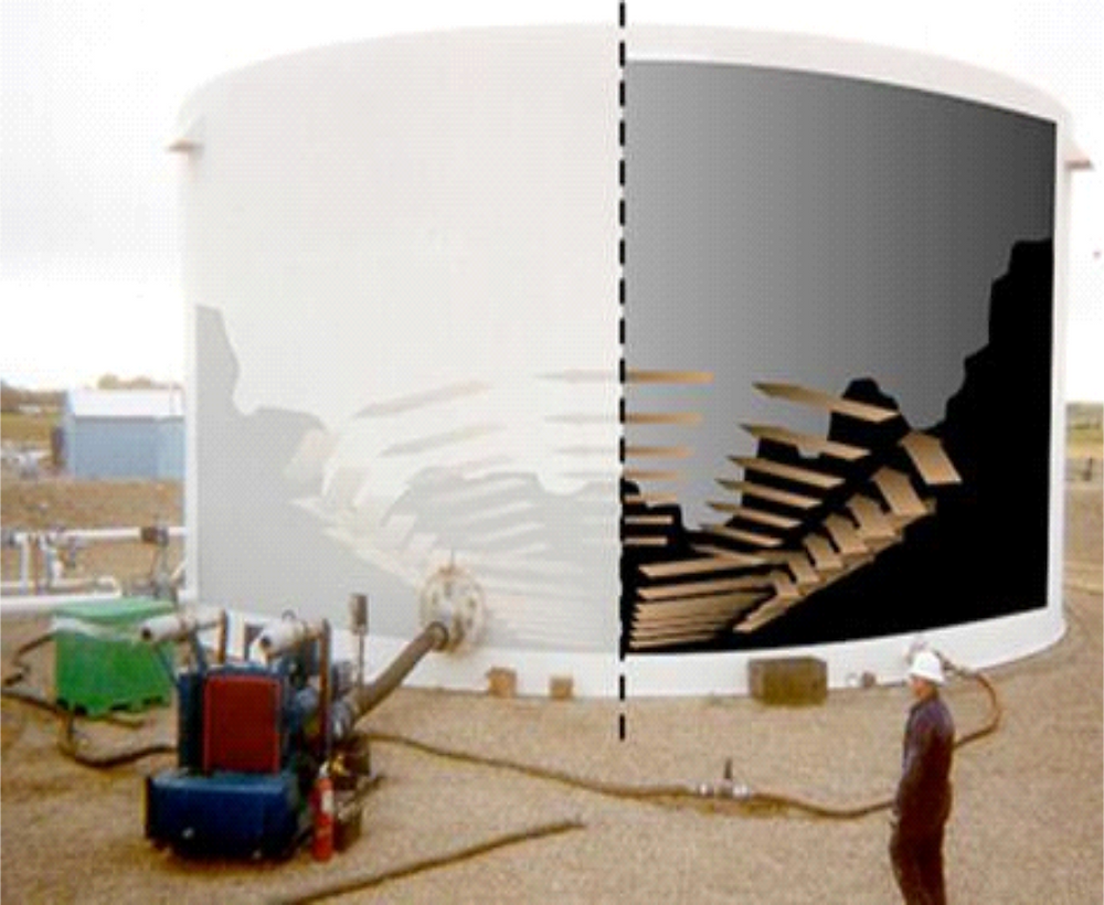 jets with greenzyme solution mobilize sludge for removal of tank