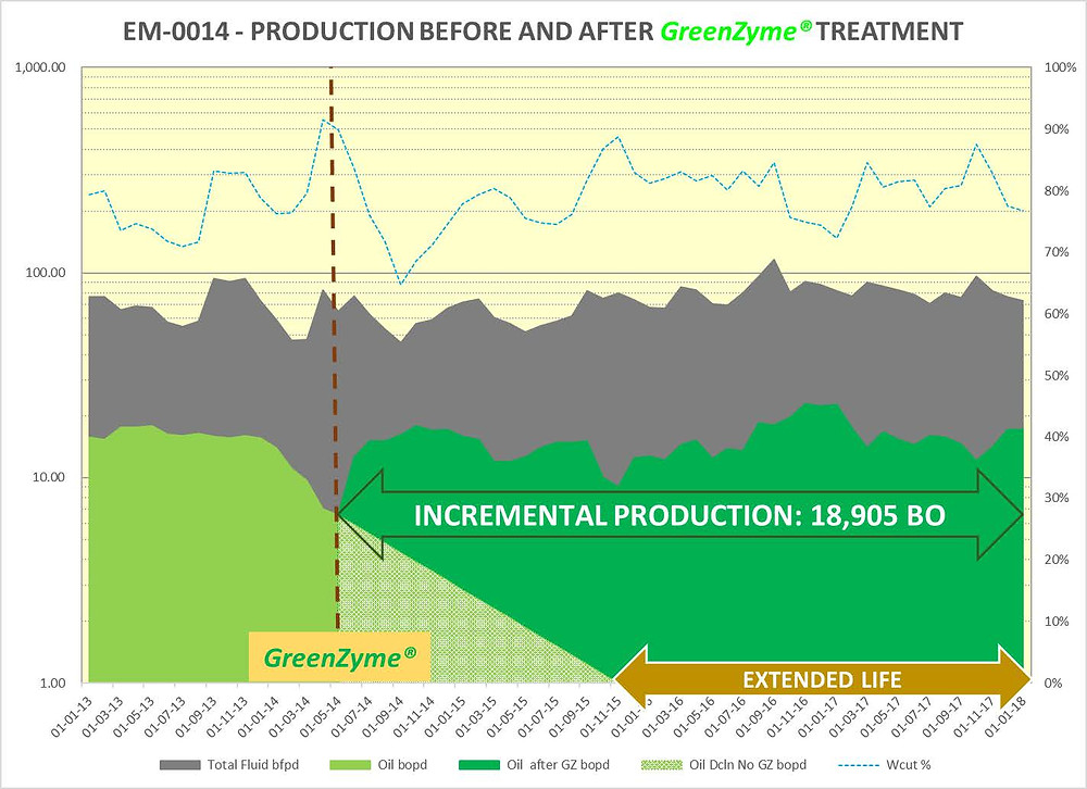 greenzyme treatment of low producing well in neuquen oil field
