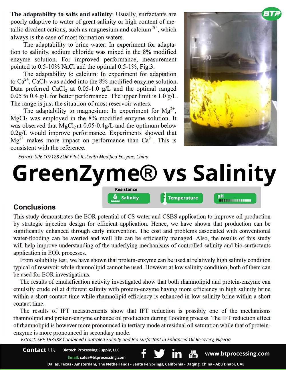 GreenZyme extract interaction with salts to liberate trapped oil