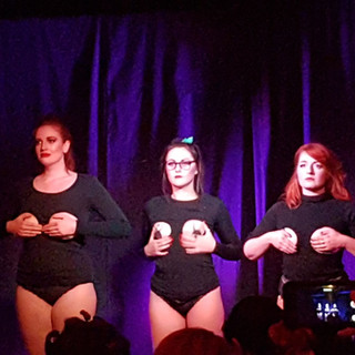 Trying to keep a straight face on stage with Jessica Hussey and Bonnie Knockers as we re-create the Potter Puppet Pals... but with tits.  At the House Of Burlesque Harry Potter Fresh Show!