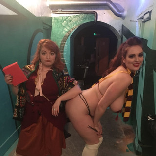 Mama Weasley aka. Bonnie Knockers is very disapproving at Ginny's nakedness at The House Of Burlesque Harry Potter Fresh Show!!!    This was also my birthday party and it absolutely KILLED!