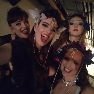 The beautiful group at a FABULOUS House Of Burlesque Show! From left to right: Bettsie Bon Bon Me Diona Coco Nobel
