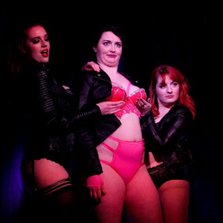 Bonnie Knockers and I copping a feel of Bambi Bang Bang during our Dark Lord Funk dance in the House Of Burlesque Harry Potter Fresh Show!