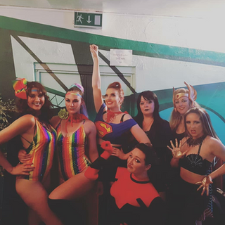 The INCREDIBLE House Of Burlesque Fresh Superhero Show!!! Featuring from left to right: Luna LaFee Gracie Disgrace Me Bambi Bang Bang (in front) Fallen Nyx Miss Busty Malone Coco Nobel