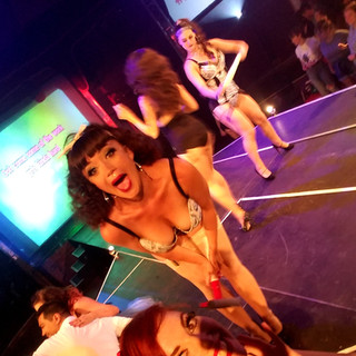 This part of the show was SO fun!  The stunning Bettsie Bon Bon joining in on a selfie with me!