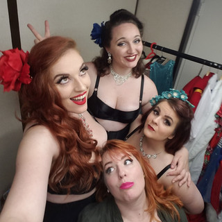 Back stage with my girls!!! Clockwise from me:  Bambi Bang Bang Miranda Lee Bonnie Knockers