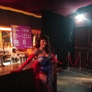 Bettsie Bon Bon chilling out just being going on stage for the House Of Burlesque Revue Show!