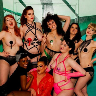 Group pic of The House Of Burlesque Harry Potter Fresh Show team!!!  Clockwise from Ginger: Jessica Hussey Miranda Lee Pixie Papillion Bambi Bang Bang Lilly Snatchdragon Purrsia Kitt Bonnie Knockers