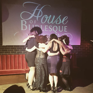 Group hug for the new graduates of The House Of Burlesque Academy!!!  The night of my very first performance!