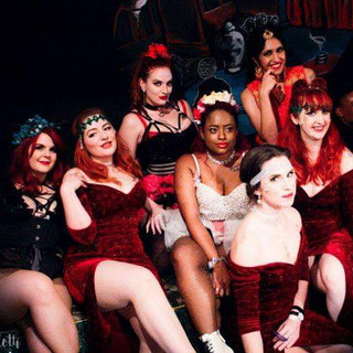 The stunning group at the House Of Burlesque End Of Winter Ball!! From left to right: Miranda Lee Bonnie Knockers Me Velvet Sparks Felina Onyx (in front) Bolly Ditz Dolly (in back) Gemarella Gingerbread Purrsia Kitt Luna LeFee