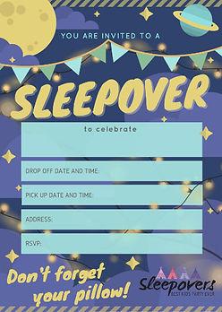 Night sky sleepover/ slumber party invite