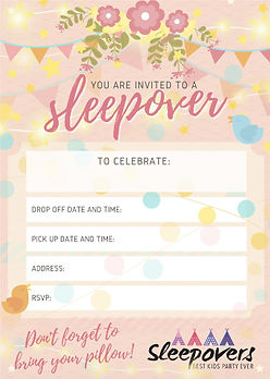 Floral bunting sleepover/ slumber party invite