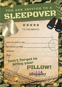 Camo theme sleepover party invite