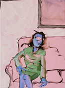 Blue woman waiting for adrenaline