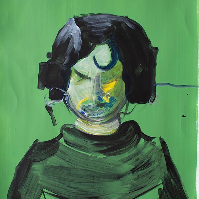 Booooo portrait in green Acrylic on paper 50x70cm 2018