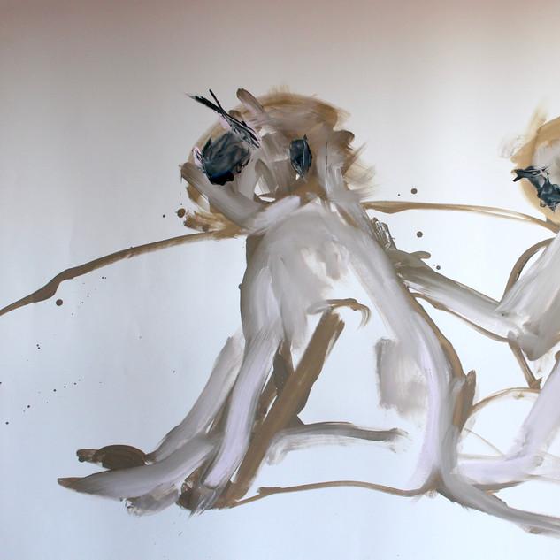 Monkey (ego) Massage Oil on paper 150x100cm 2013