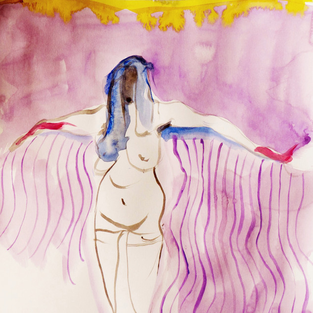 Winged Woman Watercolour on paper 21x30cm 2015