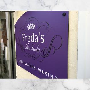 Freda's Skin Studio Sign