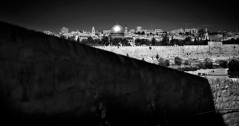 Fine art photo taken from The Mount of Olives of The Beautiful Gate and the Old City of Jerusalem.