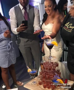 Flaming shot cake toast