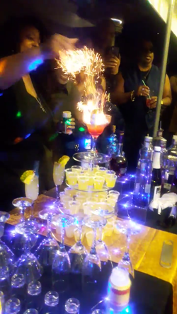 Flaming shot cake