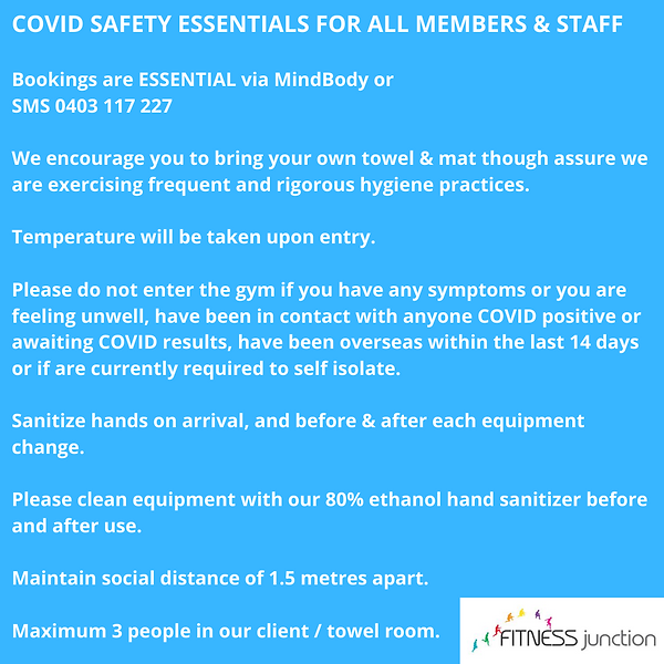 COVID SAFETY ESSENTIALS FOR ALL MEMBERS