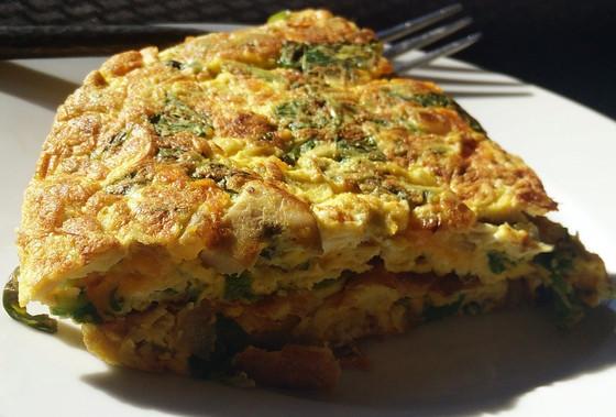 Salmon, asparagus, brocoli egg white omelette
