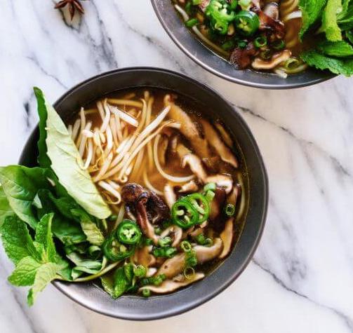 Shiitake Mushroom Pho (Vietnamese Noodle Soup)