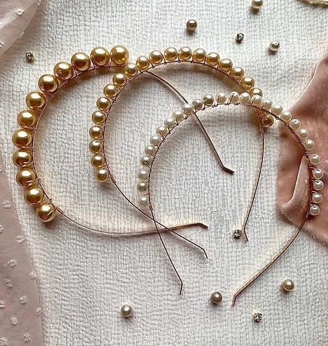 Gold, silver or rose gold Swarovski pearls headband