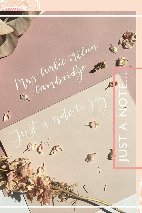 Blush pink envelopes individually addressed in white modern calligraphy with a note card