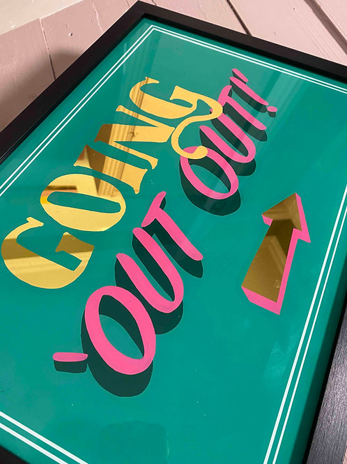 going out out quote wall art decor in green and gold