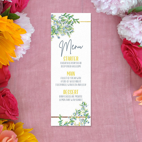 Watercolour Menu Card