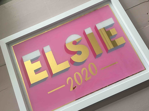 Personalised childs name sign, pink with glitter and gold leaf