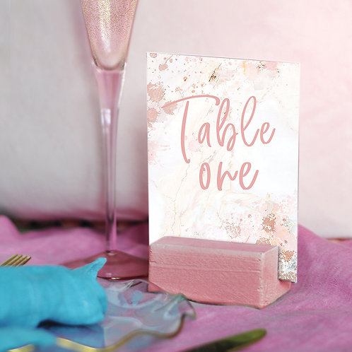 Pink Marble Table Numbers