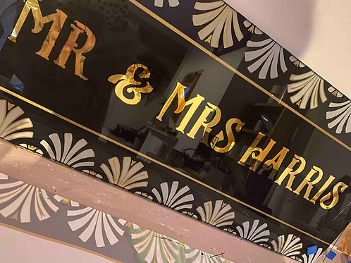 art deco black and gold wall art family name sign, UK