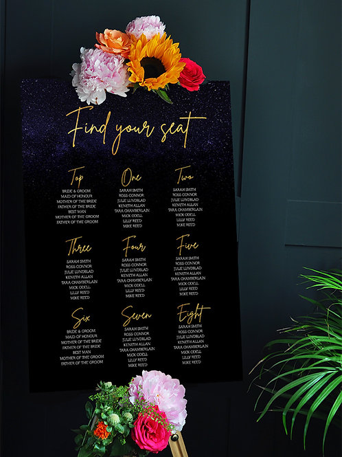 Celestial Wedding Decor Seating Chart