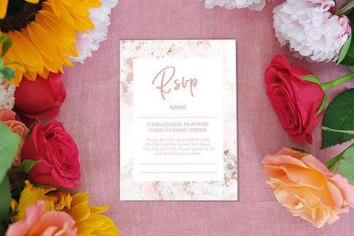 Pink Marble RSVP card