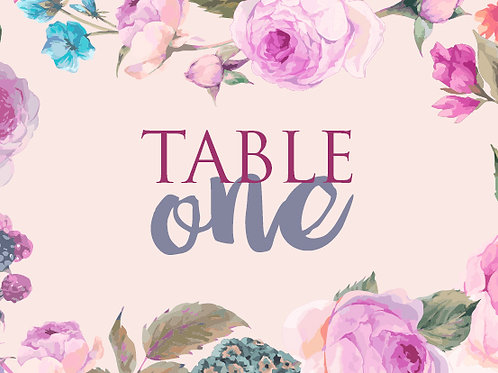 Rose Floral Table Numbers