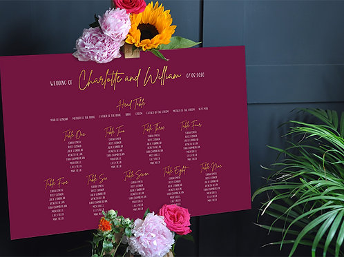 Burgundy Wedding Seating Chart