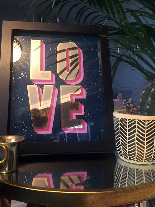 Love wall art with 23.5ct gold leaf