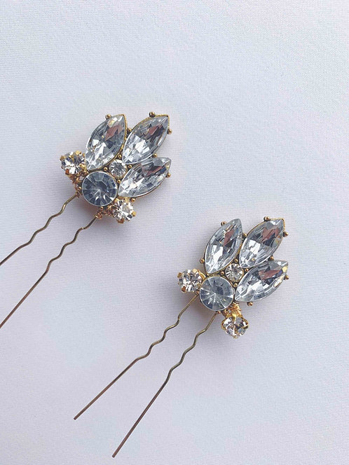 gold or silver Rhinestones hair pins