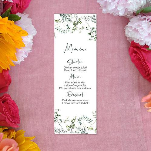 Botanical Menu Card