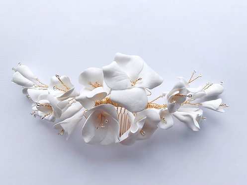 Clay flower headpiece