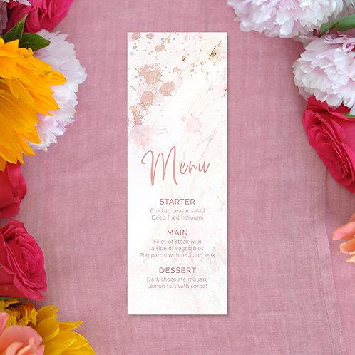 Pink Marble Menu Card