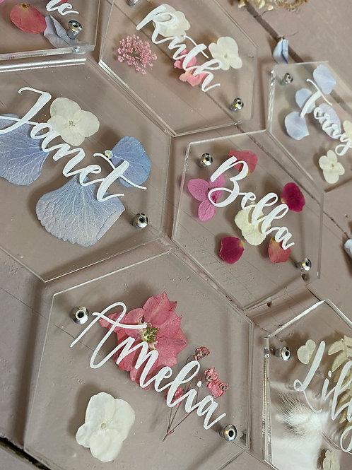 Flower acrylic wedding place names
