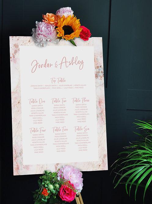 Blush Marble Wedding Seating Chart