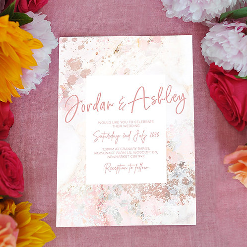 Pink Marble Wedding Invitation