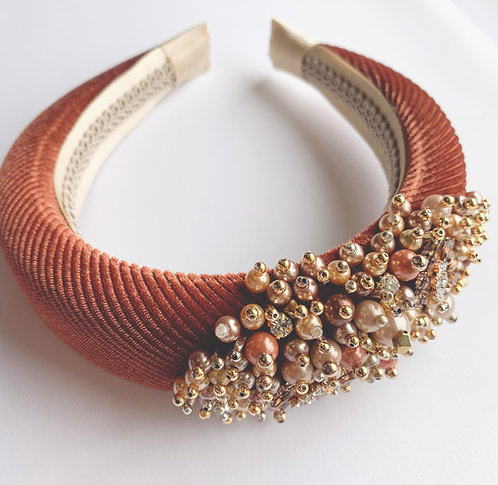 velvet padded rust headband, luxury hair accessories