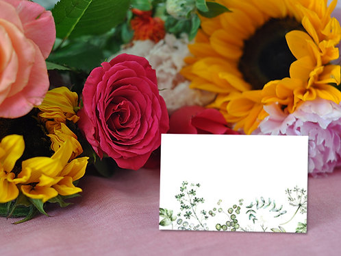 botanical wedding place name cards, white, sage green, uk, place cards, wedding name cards